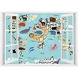 SCOCICI Peel and Stick Fabric Illusion 3D Wall Decal Photo Sticker/Kids,Educational World Map Africa Camel America Lama Alligator Ocean Australia Koala Print Decorative,/Wall Sticker Mural