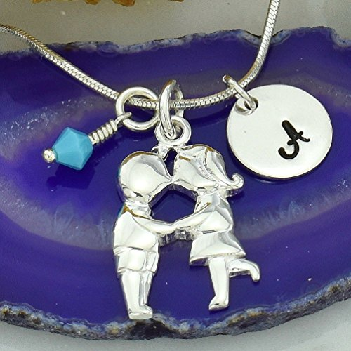 Personalized Custom Sterling Silver Girl & Boy Kissing Gemini Pendant - Hand Stamped Letter Initial Round Tag - Crystal Birthstone Charm - Chain Kiss Customizable Necklace - Kiss Pendant Boy