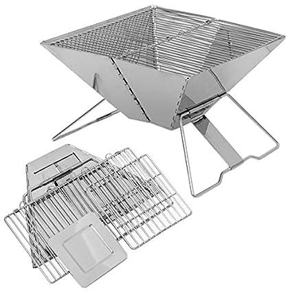 Eyepower Barbacoa Arkansas 30x30cm plegable pequeña portátil Parrilla para asar con carbón al aire libre de Acero Inoxidable