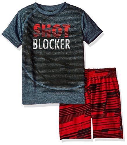Spalding Little Boys' Athletic Sleeve Tee and Short Set, Asphalt, 5/6