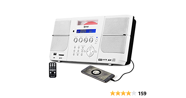 USB AUX Headphone Jack FM Vanku 12-Hour Portable Radio CD Player Boombox for Home with 4000mAh 2x3W Wireless Streaming