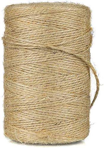 Fyuanyimas 200M Cuerda de Yute,Natural Yute Twine,Cuerda de Embalaje,Cuerda de Jardinería Bricolaje,para Jardinería Fotos,Regalos,Manualidades