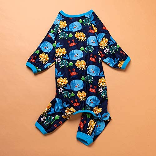 LovinPet Pijamas para perros grandes / Jersey elástico estampado de punto con estampados de la familia marina / Pijamas ligeros para mascotas / Pijamas para perros de cobertura completa Mono para perros grandes 5