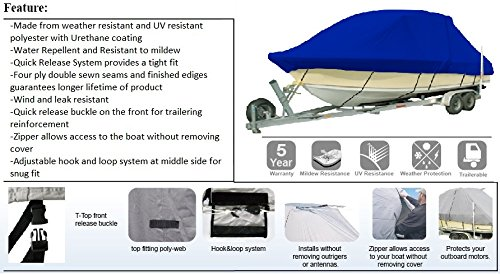 Vehicore Heavy Duty T-top Hard Top Boat Cover for Sea Hunt Ultra 234 Center Console Fishing Blue by Vehicore