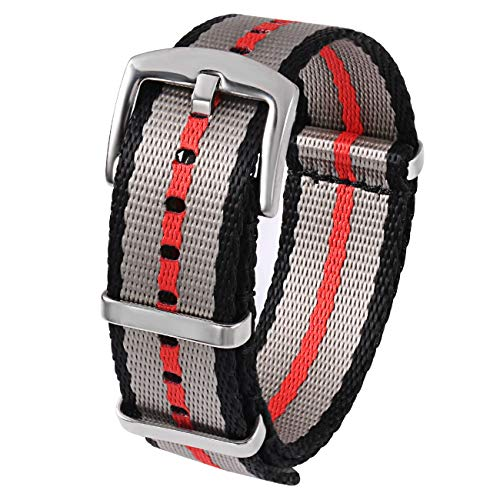 - PBCODE Seat Belt Nylon NATO Strap Heavy Duty Military Watch Band Replacement Watch Straps 22mm Black/Grey/Red Stitching
