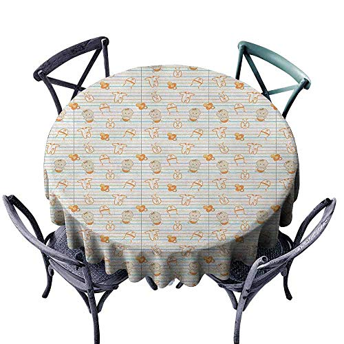 - duommhome Baby Elegance Engineered Tablecloth Cute Infant Cartoon with Various Clothing Items on Notebook Design Lines Pacifiers Easy Care D43 Multicolor