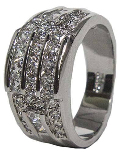 - Women's Rhodium Plated Dress Ring Princess and Round Cut CZ 011 (9)