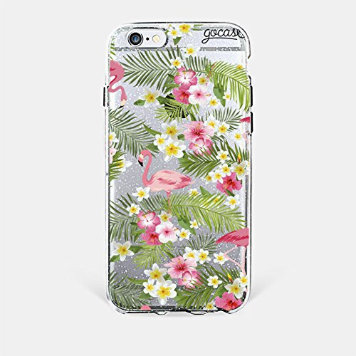 Capinha para iPhone 6 Plus/6s Plus Gocase - Flamingos e Flores - Glitter Silver
