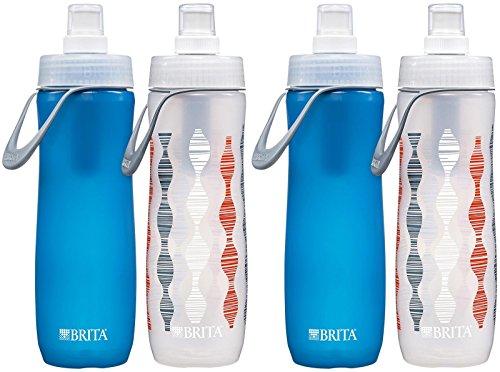 Brita Soft Squeeze Water Filter Bottle, Twin pack, Aqua & Green, 4 ct