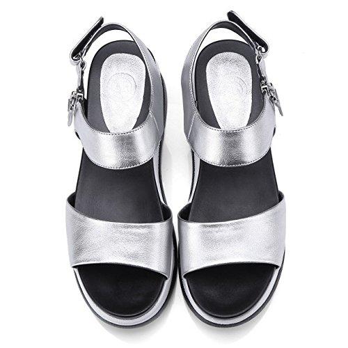 Cuir Casual Plate Bout Cheville D'été Ouvert Sandales Spartiates forme Femmes Chaussures Dames Semelle D'argent Épaisse D'argent Des En 4FtZqnP7