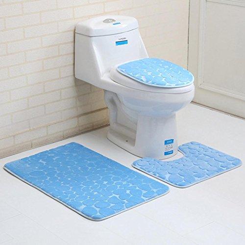 3PC Bathroom Set Stone Pattern Pedestal Rug Mat Toilet Lid Cover Bath Mats (F)
