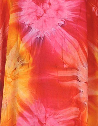 Tropicalsale Women's Plus Size Tie-Dye Orange Pink Caftan Tunic Hippy Top
