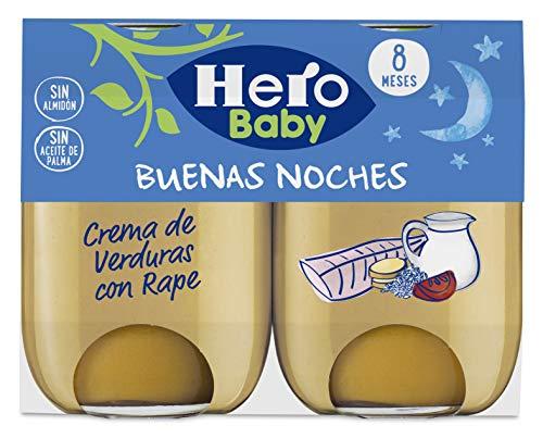 Hero Baby Buenas Noches Crema de Verduras con Rape Tarrito de Pure para Bebes a partir de 8 meses, 2 x 190 g