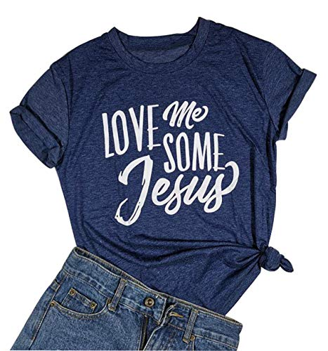 - Jesus Letter Printed T Shirt Women Love Jesus Christian Graphic T-Shirt Tees Top (X-Large, Navy)