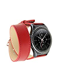 Cuitan Double Ring Leather Watch Band for Samsung Gear S2 Classic, with Steel Buckle Replacement Watchband Wrist Band Bracelet Strap Wristband for Samsung Gear S2 Classic - Red(Not included Watch)
