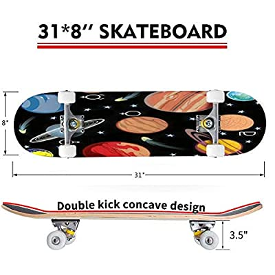 Classic Concave Skateboard Collection of Vector Images of Planets in The Solar System with Longboard Maple Deck Extreme Sports and Outdoors Double Kick Trick for Beginners and Professionals : Sports & Outdoors