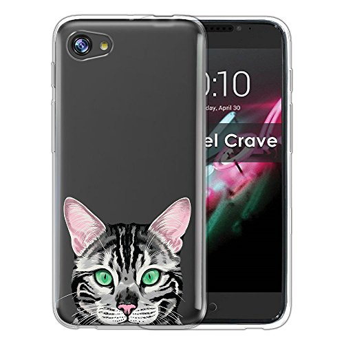 Silver Cats Spotted - FINCIBO Case Compatible with Alcatel A50 Pulsemix Crave 5085 5.2 inch, Clear Transparent TPU Silicone Protector Case Cover Soft Gel Skin for Alcatel A50 - Spotted Silver Bengal Kitten Cat