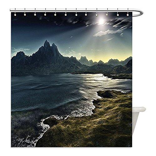 Liguo88 - Cortina de ducha impermeable de poliéster con diseño de fantasía en el paisaje oscuro con vigas de sol sobre el...