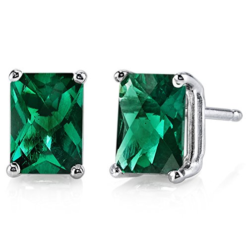 14 Karat White Gold Radiant Cut 1.75 Carats Created Emerald Stud Earrings