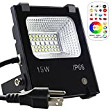 Yangcsl LED Flood Light Outdoor, 15W Color Changing Floodlight with Remote, 120 RGB Colors, Warm White to Daylight Tunable, IP66 Waterproof, US 3-Plug