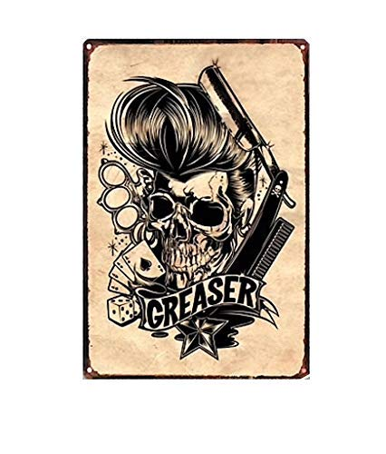 KUSTOM FACTORY Plaque Acier Barber Shop Skull Greaser