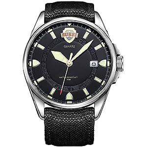 BUREI Mens Wrist Quartz Watches with Black Dial Silver Case Mineral Lens Canvas Strap