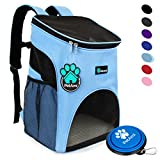 PetAmi Premium Pet Carrier Backpack for Small Cats and Dogs by Ventilated Design - Safety Strap - Buckle Support   Designed for Travel - Hiking & Outdoor Use (Light Blue)