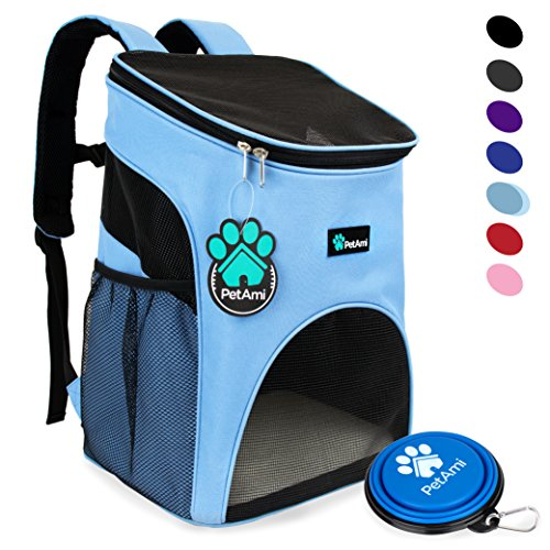 PetAmi Premium Pet Carrier Backpack for Small Cats and Dogs by Ventilated Design, Safety Strap, Buckle Support | Designed for Travel, Hiking & Outdoor Use (Light Blue) Pack Pet Carrier