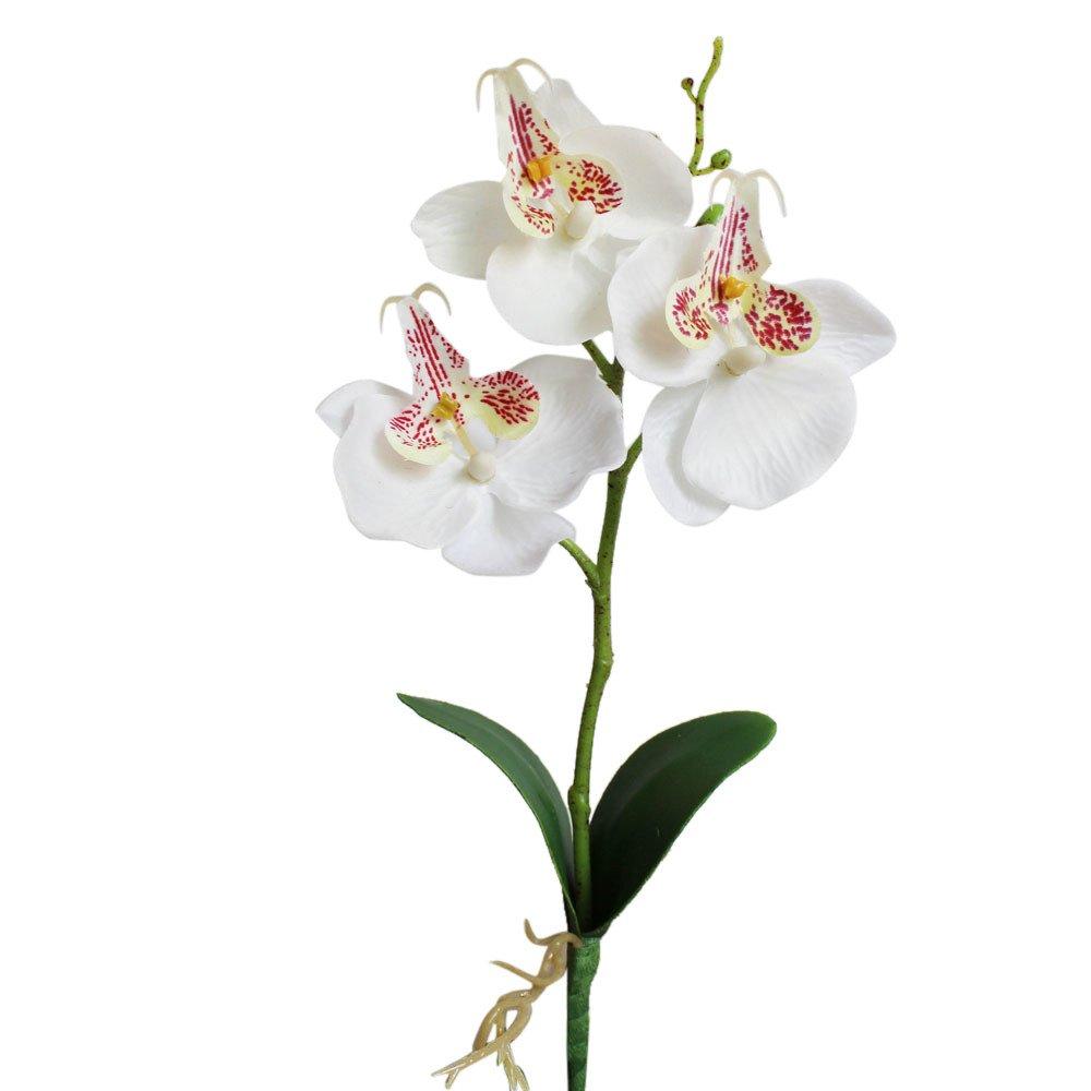 人工シルク造花 リカドカー トリプルヘッド 人工 蝶 蘭 シルクフラワー ホーム ウェディング装飾 人工シルク造花 2 B07PBYYFTP ホワイト