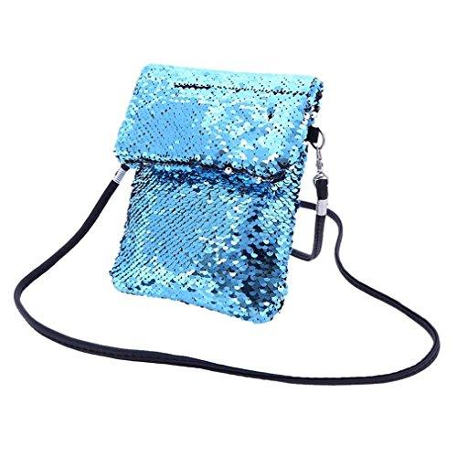 Girls Handbags, squarex Fashion Outdoor Solid Color Sequins Handbag Shoulder Bag Tote Ladies Purse Blue