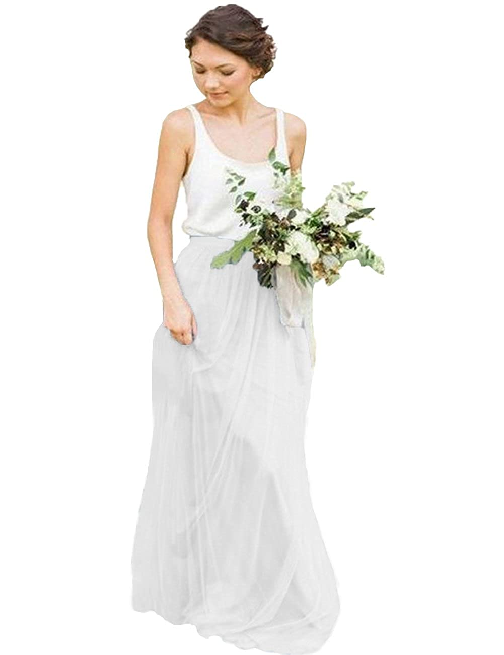 53aefdffa7ee Dressyu Scoop Neck Boho Garden Wedding Dresses Rustic Country Bridal Gowns  at Amazon Women s Clothing store