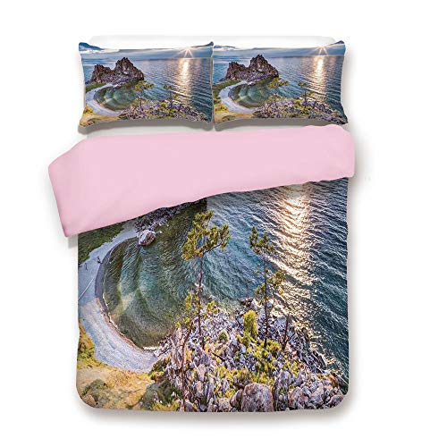 Pink Duvet Cover Set,Full Size,Shaman Rock Lake Baikal for sale  Delivered anywhere in Canada