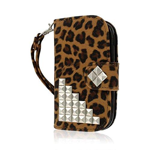 Galaxy Exhibit Wallet Case , MPERO FLEX FLIP Series Premium PU Leather Wallet Slim Fit Case for Samsung Galaxy Exhibit - Studded Leopard (For Samsung Galaxy Exhibit T599) (Exhibit Phone Samsung Wallet)