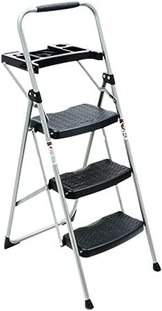 XJRHB Escalera Plegable 3 peldaños con Bandeja de Material de Hierro, escalón de Pedales con escalones Escalera de casa: Amazon.es: Hogar