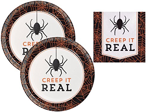 Creep It Real Spider Halloween Humor Dessert Plates and Beverage Napkins 16 Guests -