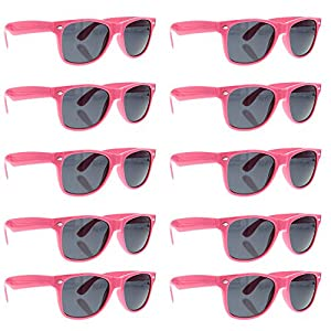 grinderPUNCH Wayfarer Sunglasses 10 Bulk Pack Lot Neon Color Party Glasses PINK