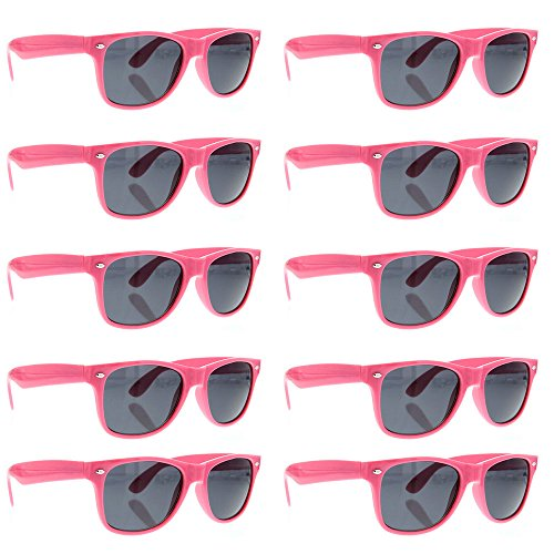 grinderPUNCH Wayfarer Sunglasses 10 Bulk Pack Lot Neon Color Party Glasses - Wayfarer Top 10 Sunglasses