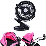 USB Mini Desk Fan,niceEshop(TM) Rechargeable and Adjustable Mini Clip Table Fan with 3 Speed Button Control for Car/Baby Stroller/Office/Home/Camping (Black)