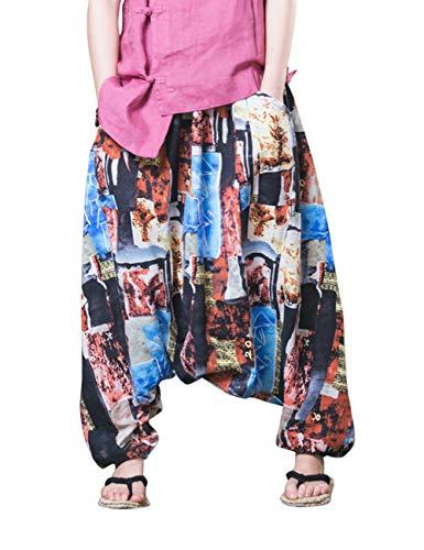 Harén Cintura Lino Trouser Verano Unisexo 2 Algodón Zhhlinyuan Pantalones Linterna Pantalones Suelto Pantalón Elástica Azul Confortable Holgado 45TAnHwvq