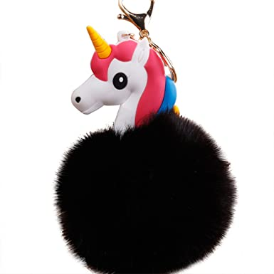 preliked Cute Faux Fur Ball Unicorn Keychain Car Keyring Pompom Bag Hanging Pendant (Black)