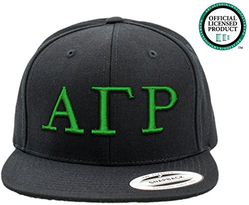 ALPHA GAMMA RHO | Black Flat Brim Snapback Hat - Various Thread Options