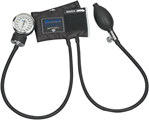 MABIS Legacy Series Aneroid Sphygmomanometer Manual Blood Pressure Monitor with Calibrated Black Nylon Arm Cuff, Cuff Size 5.5 to 7.8 inches, Zippered Carrying Case, Infant