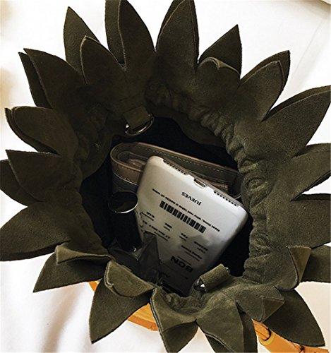 Brown Cross Women's Diagonal Belt Handbag Bag Bucket Bag Personality Pineapple Shoulder Bag Color Shape Contrast Scrub qraqZ0U