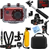 Vivitar HD Action Waterproof Camera / Camcorder Red + 32GB Outdoor Adventure Mounting Bundle