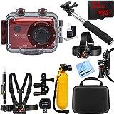 Vivitar HD Action Waterproof Camera / Camcorder Red + 32GB Outdoor Adventure Mounting Bundle