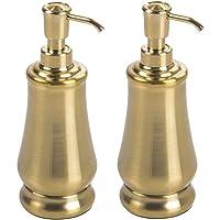 mDesign Juego de 2 dispensadores de jabón de Metal – Dispensadores de Gel con Cabezal de plástico Resistente…