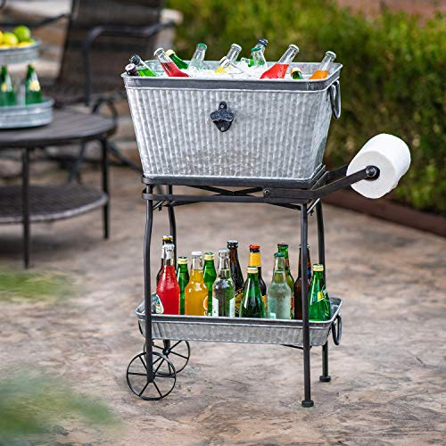 Libra Beverage Tub with Rolling Cart and Tray (For Metal Large Drinks Tubs)