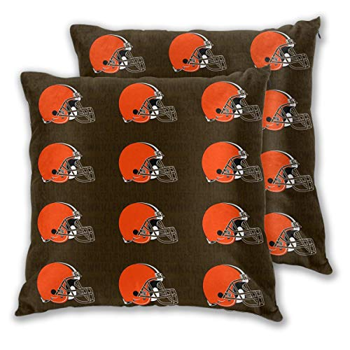 Marrytiny Design Colorful Pillowcase Set of 2 Cleveland Browns American Football Team Bedding Pillow Covers Pillow Cases for Sofa Bedroom Home Decorative - 18x18 Inches