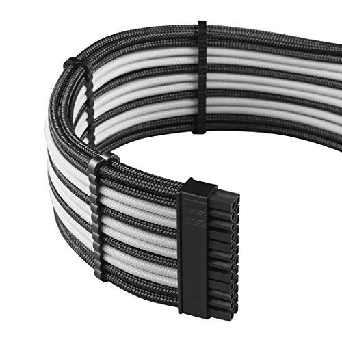 upHere Sleeved Cable - Cable extension for power supply with extra-sleeved 24 PIN 8PIN 6PIN 4+4 PIN 500mm Length With COMBS,Black/White(19.7 inch/50CM) SC508 by upHere (Image #2)