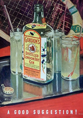 Gordon's Distilled London Dry Gin, 1935 Print Ad. Color Illustration (a good suggestion) authentic original vintage 1935 Esquire Magazine Art (Gordons London Dry Gin)